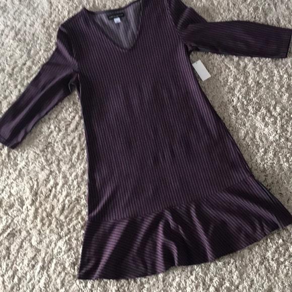 Simply Styled Dresses & Skirts - Plum purple Gray stripe ruffle hem dress M NWT